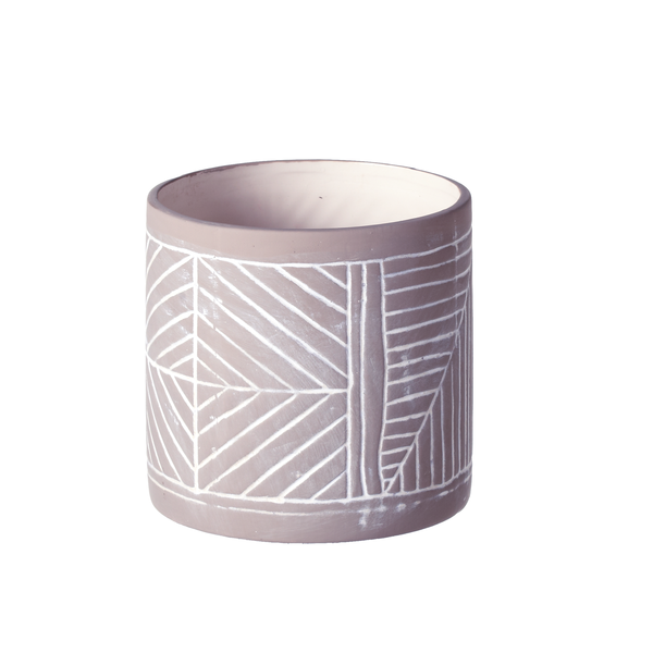 Small Grey & White Rustic Tribal Pattern Vase | touchGOODS