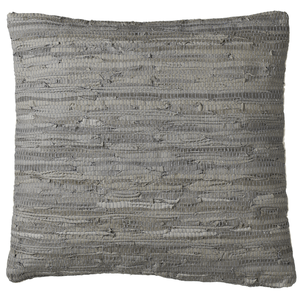 Grey Woven Leather Chindi Floor Pillow