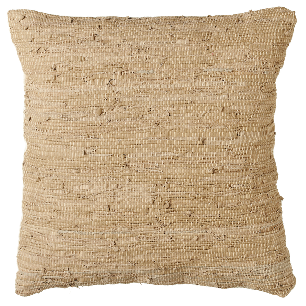 Beige Woven Leather Chindi Floor Pillow - touchGOODS