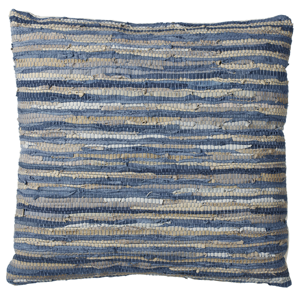 Blue & Beige Woven Leather Chindi Floor Pillow | touchGOODS