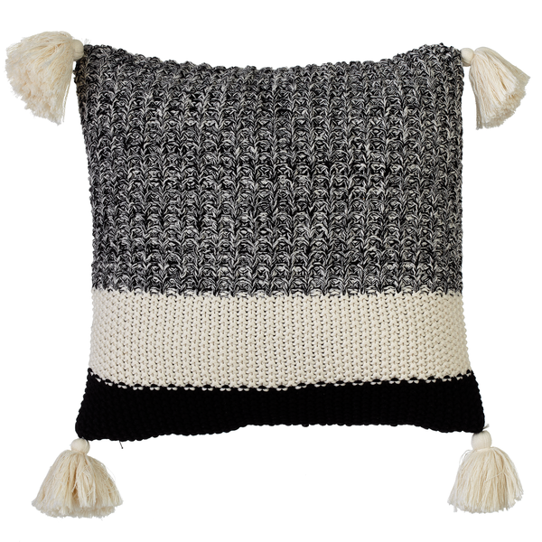 Black & White Texture Block Knit Pillow with Tassels - touchGOODS