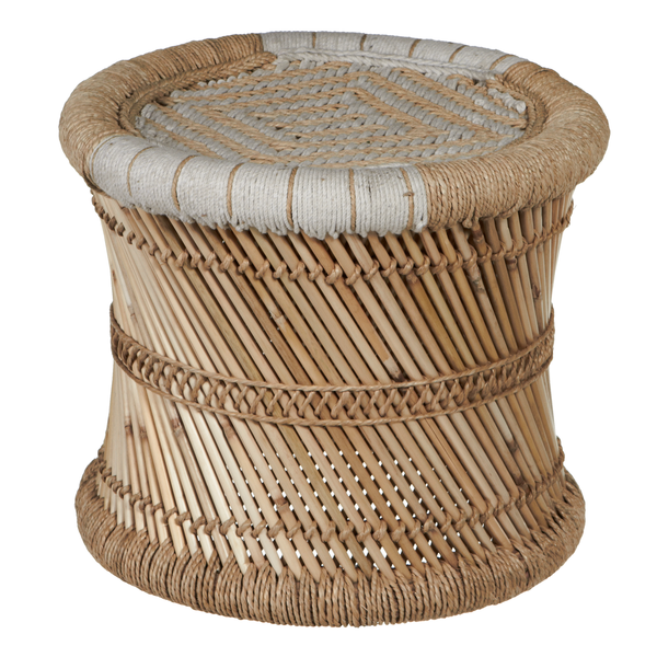 White & Natural Woven Drum Stool Plant Stand