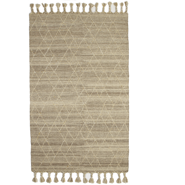 Natural Kilim Geo Stitch Area Rug 5 x 8 | touchGOODS