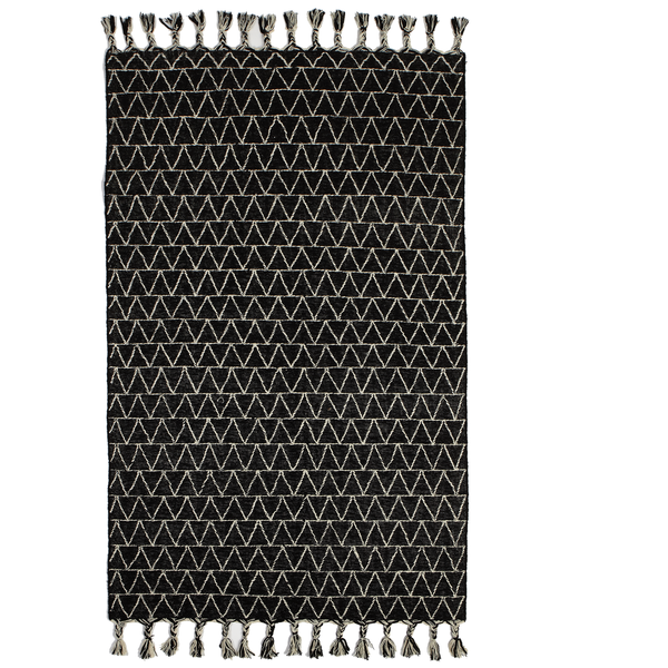 Black & White Kilim Rug with Triangle Top Stitch 5 x 8 | touchGOODS