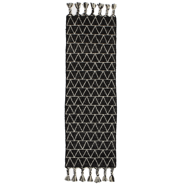 Black & White Kilim Runner with Geo Top Stitch 2 x 6 - touchGOODS