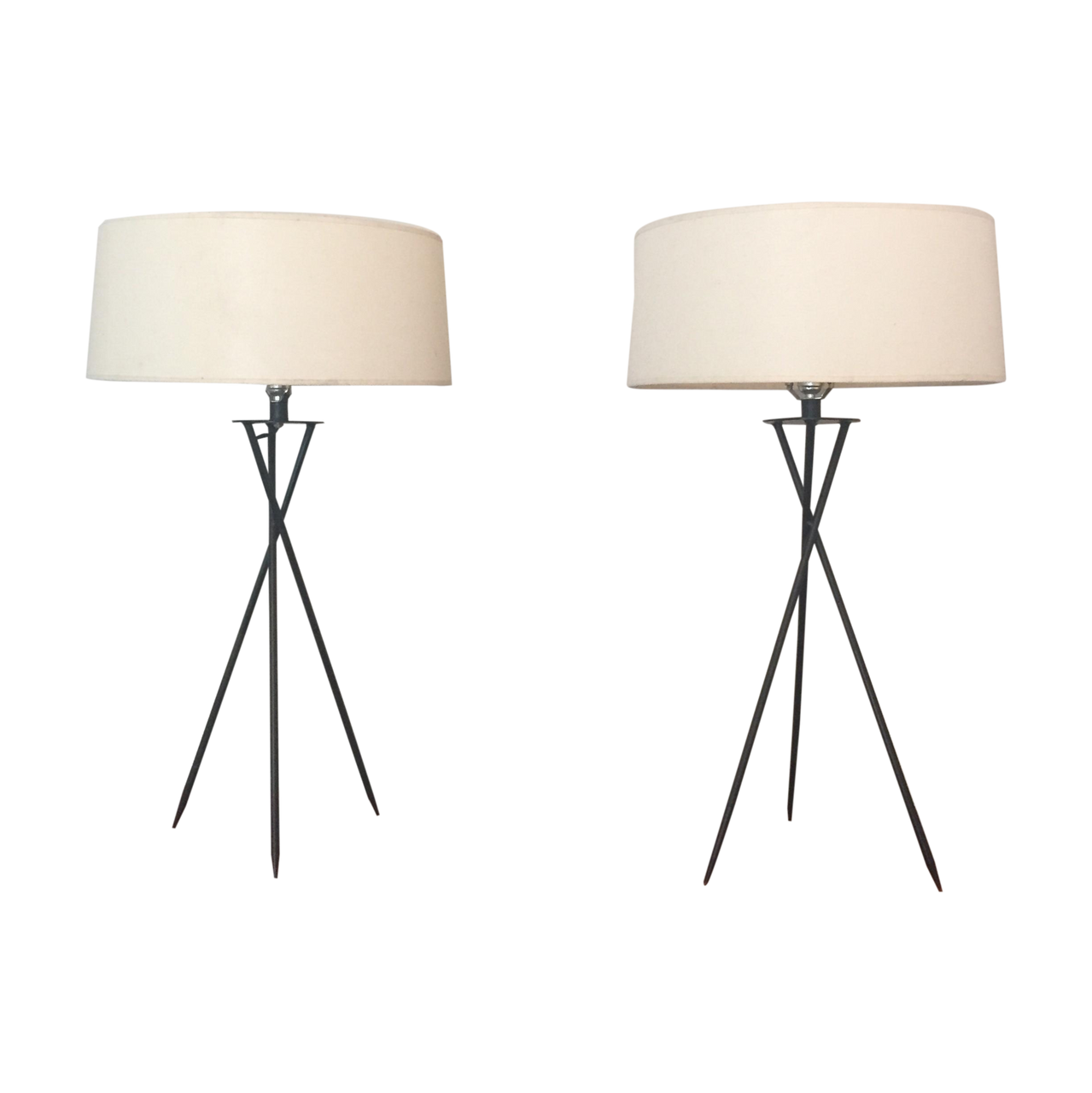Mid Century Modern Tripod Table Lamps A Pair Stylish Home Decor Lighting And Accessories