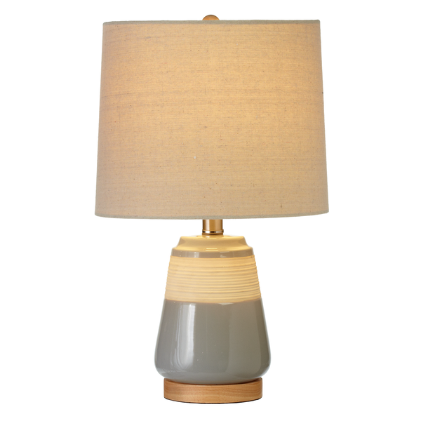 Grey Glaze & Natural Horizontal Ribbed Accent Lamp. - touchGOODS