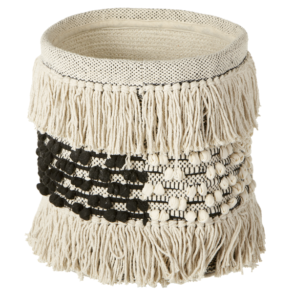 Black & Cream Fringe Boho Planter Basket | touchGOODS