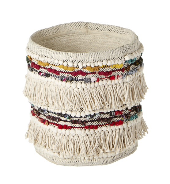 Fringe Boho Colorful Chindi Planter Basket | touchGOODS