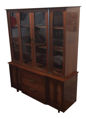 Mid-century Modern Walnut China Cabinet by Stanley - touchGOODS