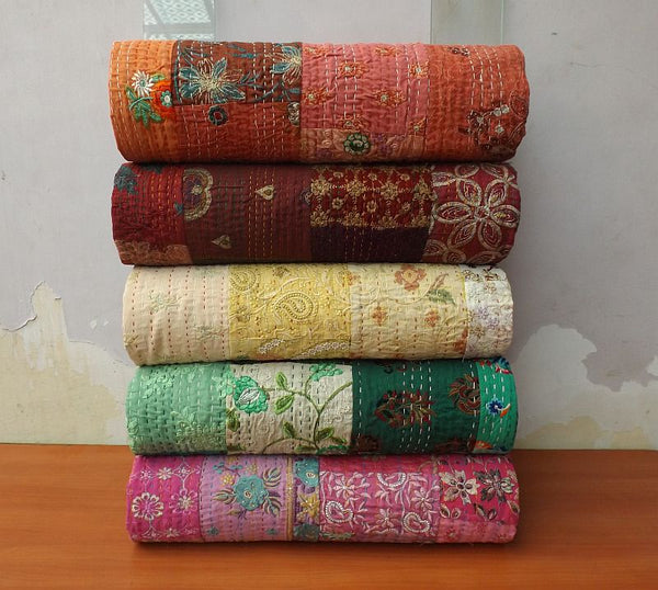 Assorted Indian Hand Embroidered Patchwork Quilts - touchGOODS