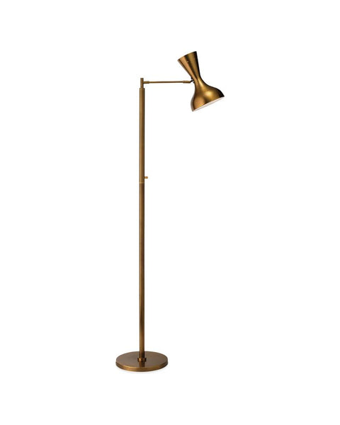 Pisa Mid-Century Swing Arm Floor Lamp - Brass