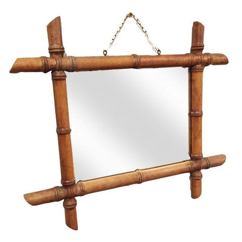 Antique French Bamboo Wood Framed Mirror - touchGOODS