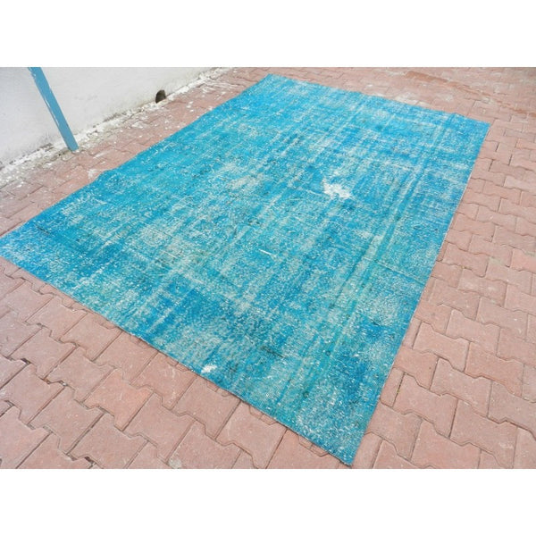 "Vintage Over Dyed Turkish Area Rug 6'7"" x 9'5"" 