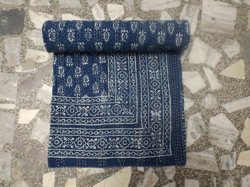 Assorted Hand-stitched Indian Block Print Quilts - Indigo | touchGOODS