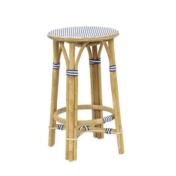 Madrid Rattan Counter Stool - Navy & White | touchGOODS