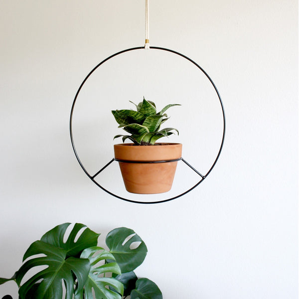 Hanging Plant Holder - Black Metal