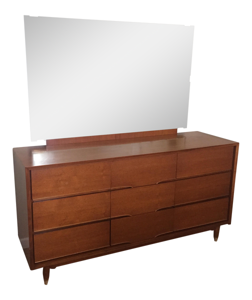 Benck Mid-Century Walnut 9 Drawer Dresser & Mirror - touchGOODS