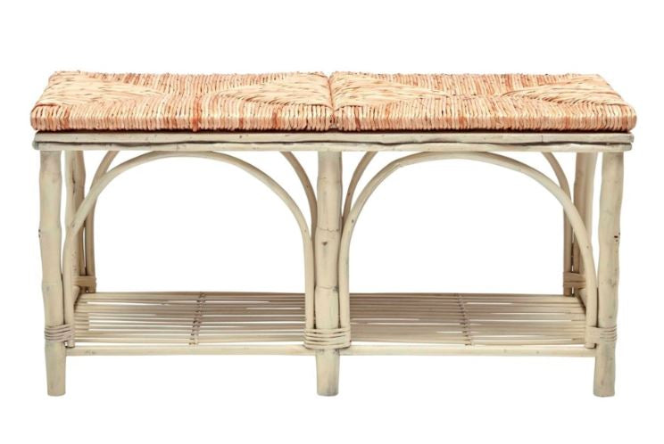 Antique White Bamboo Bench with Rush Seat - touchGOODS