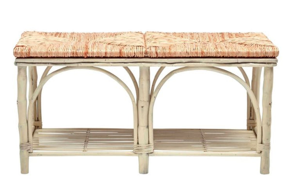 Antique White Bamboo Bench with Rush Seat | touchGOODS