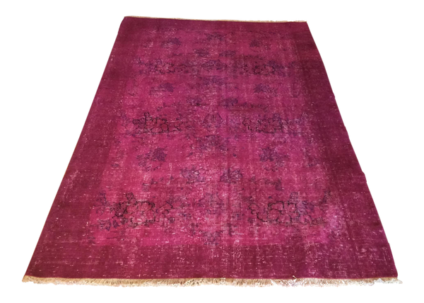 Vintage Over-Dyed Turkish Area Rug in Magenta 4′ × 6′6″
