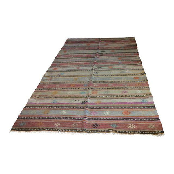 Vintage Turkish Kilim Area Rug 5′3″ × 10′3″ - touchGOODS