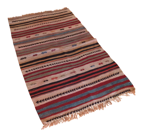 Vintage Turkish Striped Kilim Runner 2′2″ × 4′3″ | touchGOODS