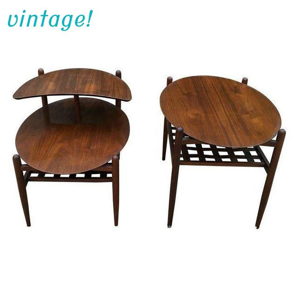 Lane Walnut Side Tables - Pair - touchGOODS