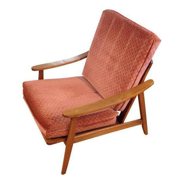 Vintage Mid-Century Oak & Burnt Orange Arm Chair