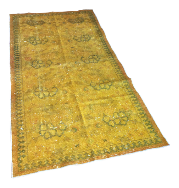 Yellow Over-Dyed Turkish Rug - 3′2″ × 6′5″