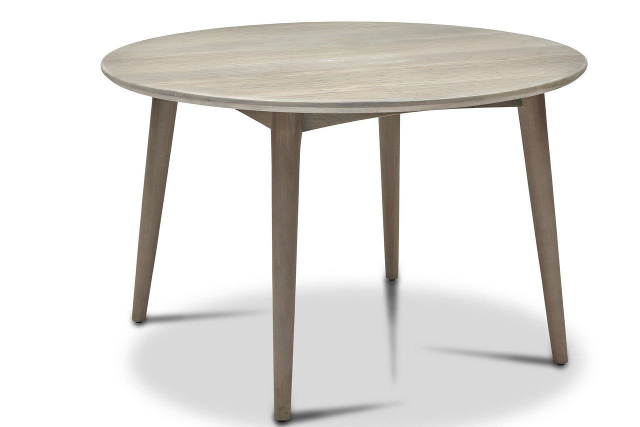 "48"" Round Mid-Century Modern Style Dining Table in Weathered Grey - touchGOODS"