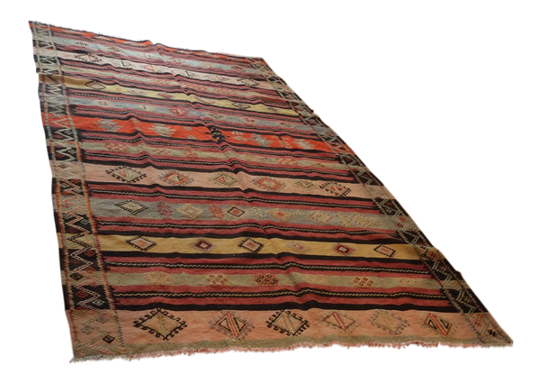 Vintage Turkish Kilim Area Rug - 10' X 5'7""