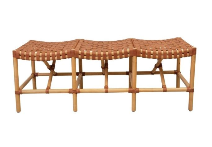 Rattan & Woven Leather Malibu Bench | touchGOODS