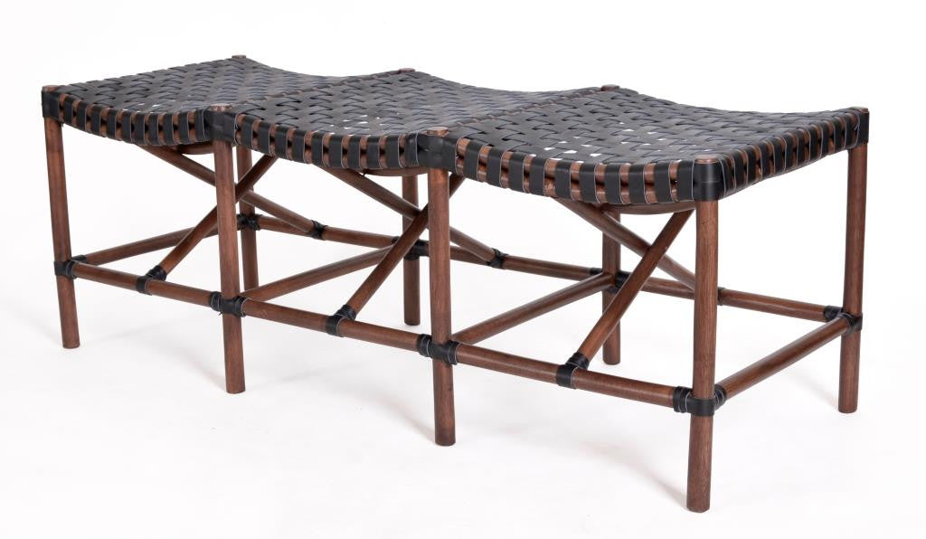 Rattan & Woven Black Leather Malibu Bench | touchGOODS