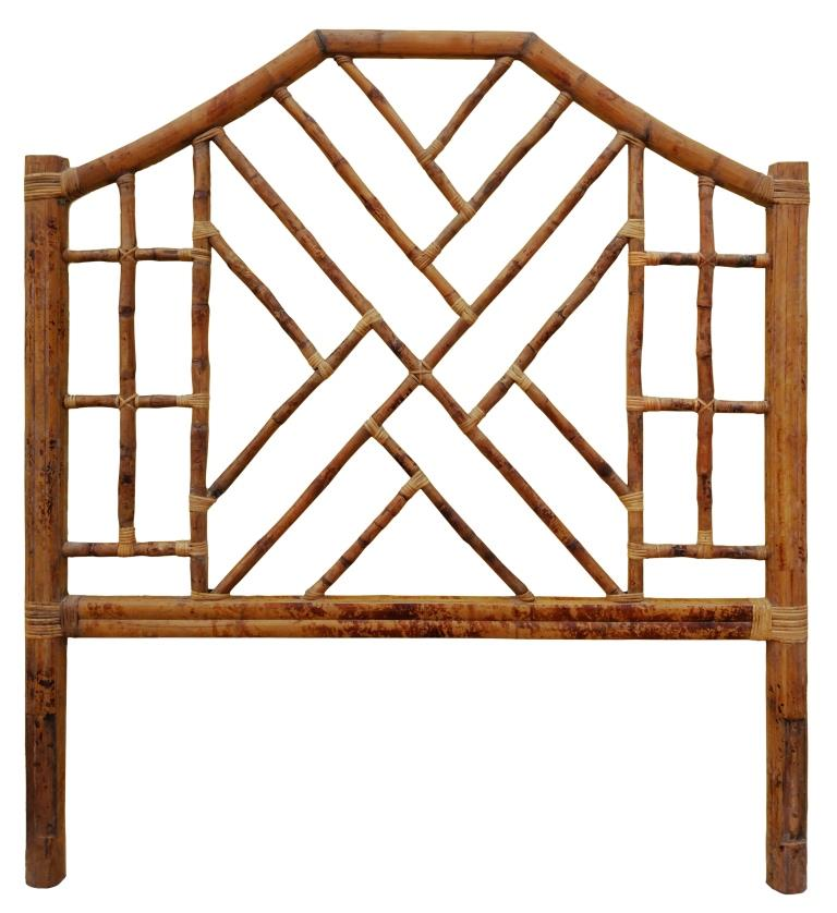 Chinese Chippendale Bamboo & Rattan Headboard - Queen