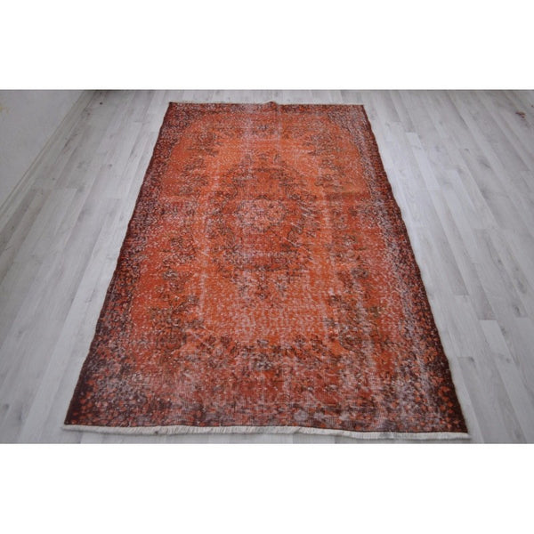 Vintage Over-Dyed Turkish Area Rug in Orange - 4' x 6'6""