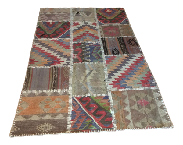 Vintage Patchwork Turkish Kilim Area Rug 3′6″ × 6′2″ - touchGOODS