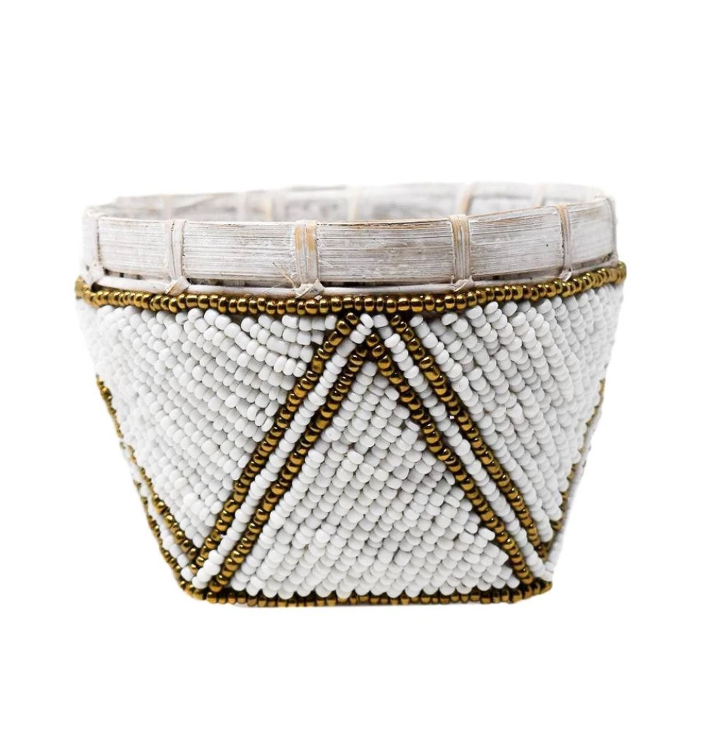 Bamboo Beaded Trinket Basket: White/Gold Trim