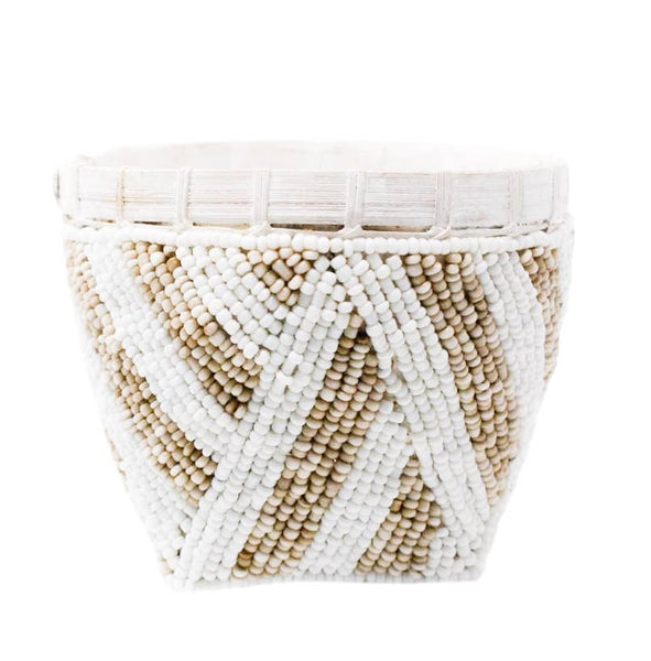 Bamboo Beaded Trinket Basket: Natural/White Wide Stripe