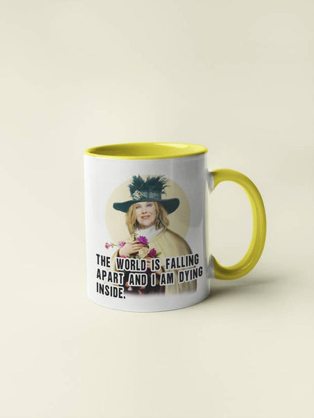 Moira Rose - The World Is Falling Apart Schitt's Creek Coffee Mug White/Yellow | touchGOODS