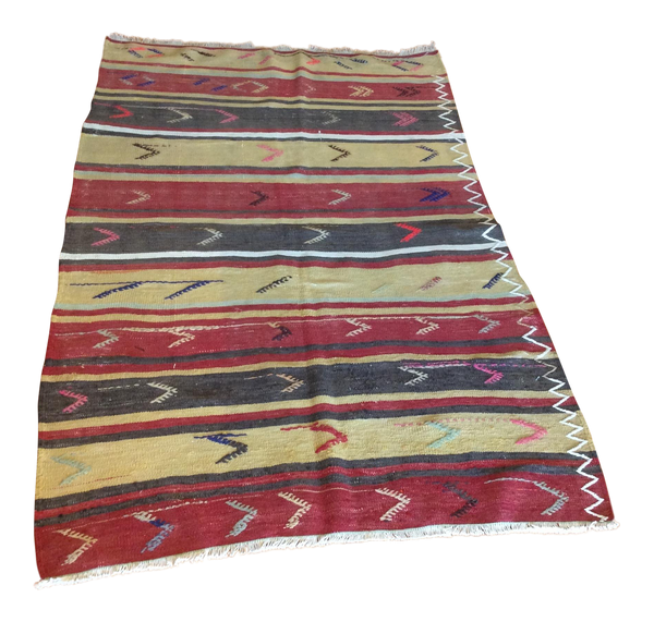 Vintage Turkish Striped Kilim Runner 3′4″ × 5′4″ - touchGOODS