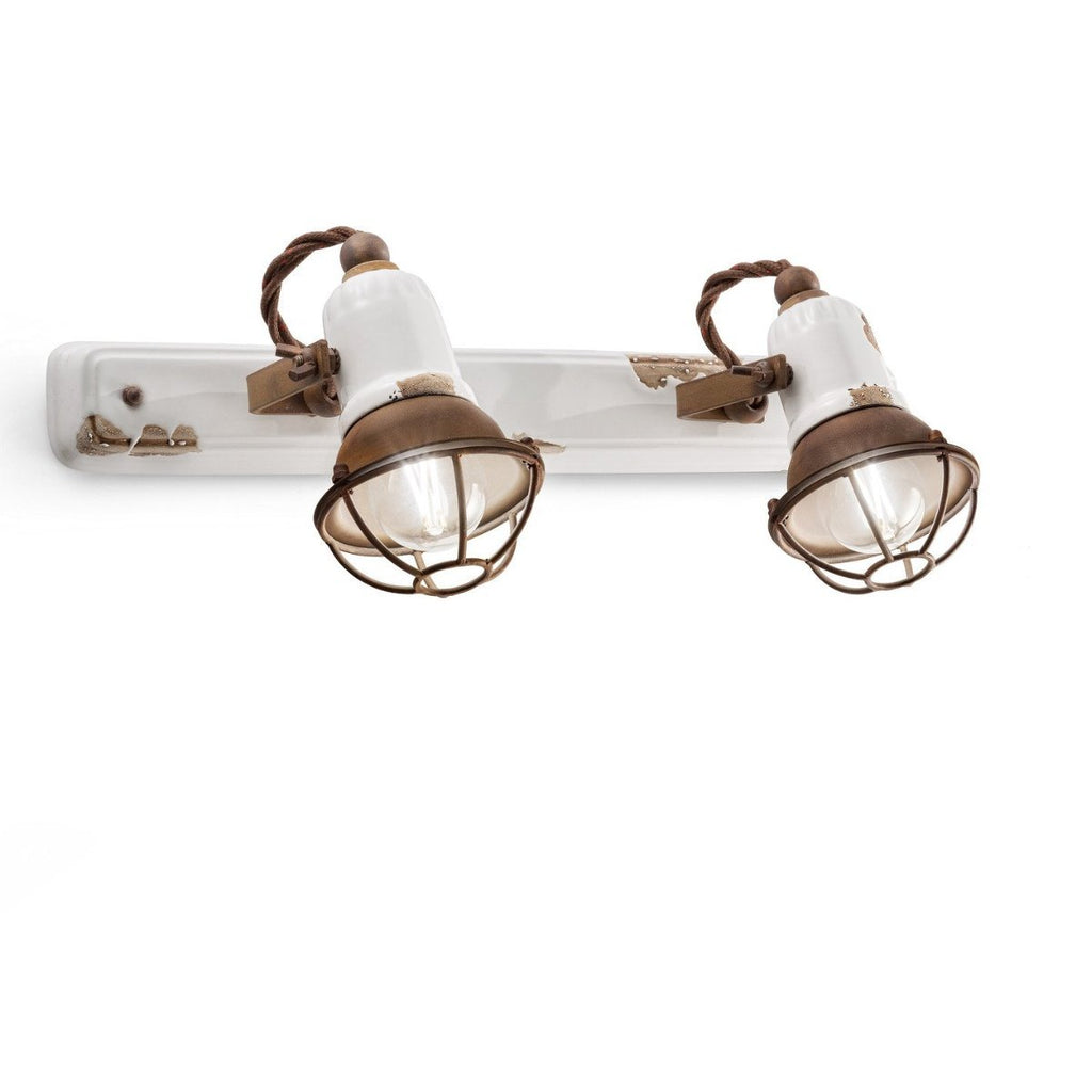 Ferroluce Loft Double Wall Light with Cage C1676/1 | touchGOODS