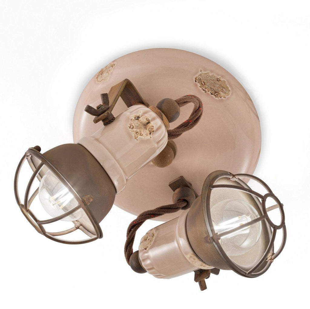 Ferroluce Loft Double Ceiling Spotlight with Cage C1678/1 | touchGOODS