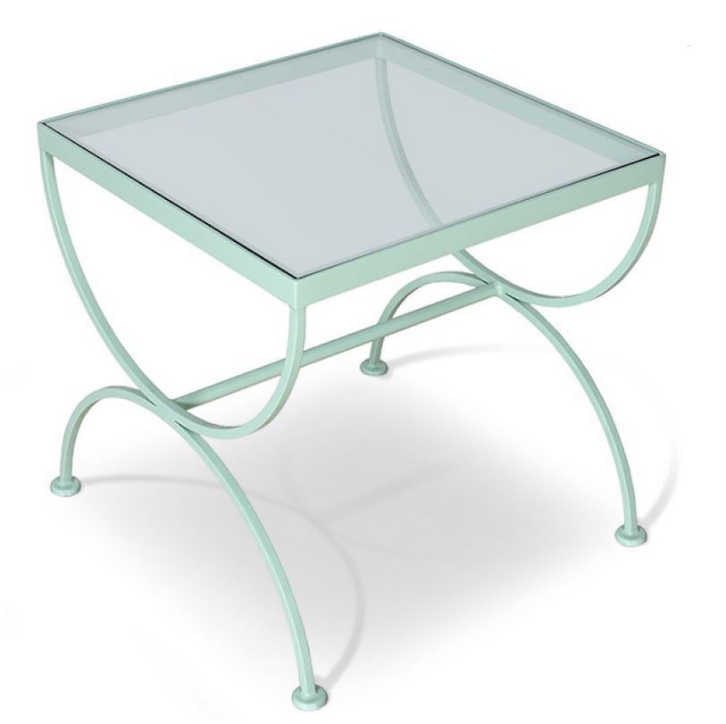 Mint Green End Table with Glass Top | touchGOODS