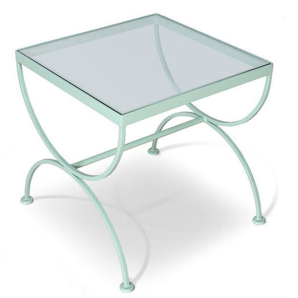 Mint Green End Table with Glass Top - touchGOODS