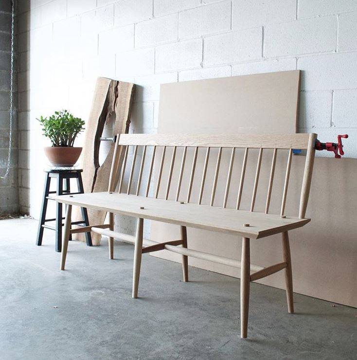 Custom Modern Spindle Back Windsor Bench in Cherry 60"