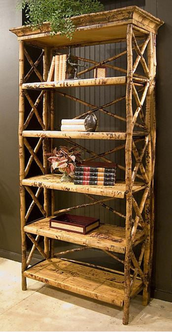 Rattan Cross Back Bookcase, Tortoise | touchGOODS