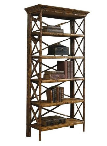 Rattan Cross Back Folding Bookcase, Tortoise - touchGOODS