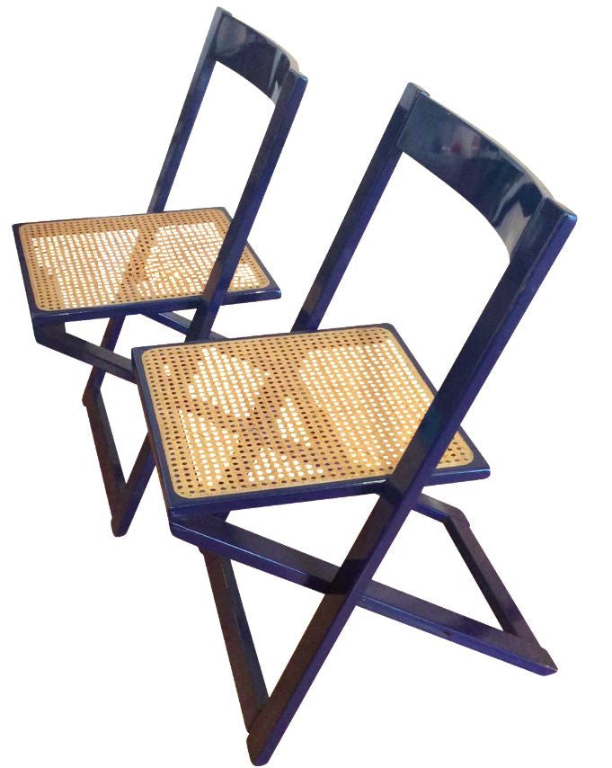 Vintage Blue Lacquered Caned Folding Chairs By Aldo Jacober   TouchGOODS
