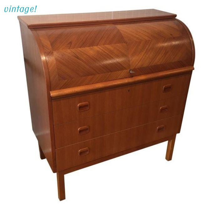 1960s Swedish Modern Roll-Top Teak Secretary - touchGOODS
